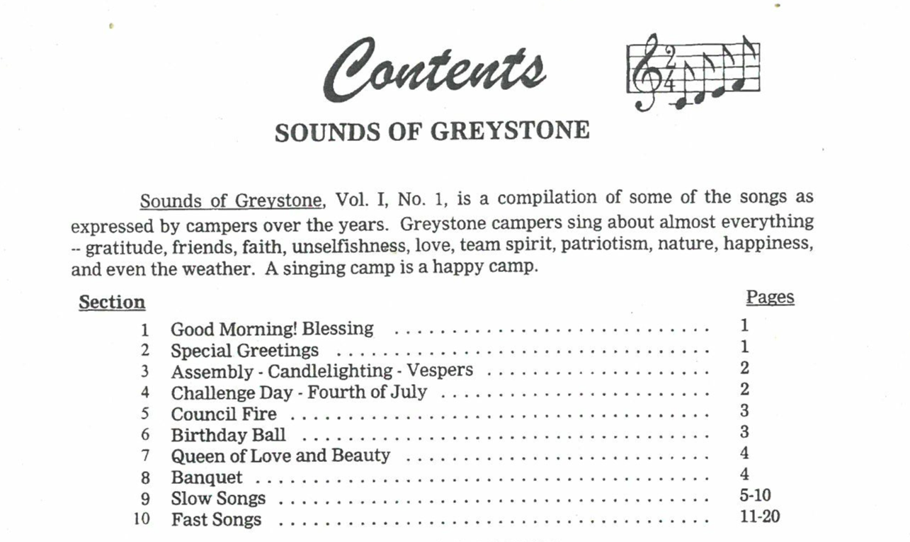 Picture of Greystone Song Book
