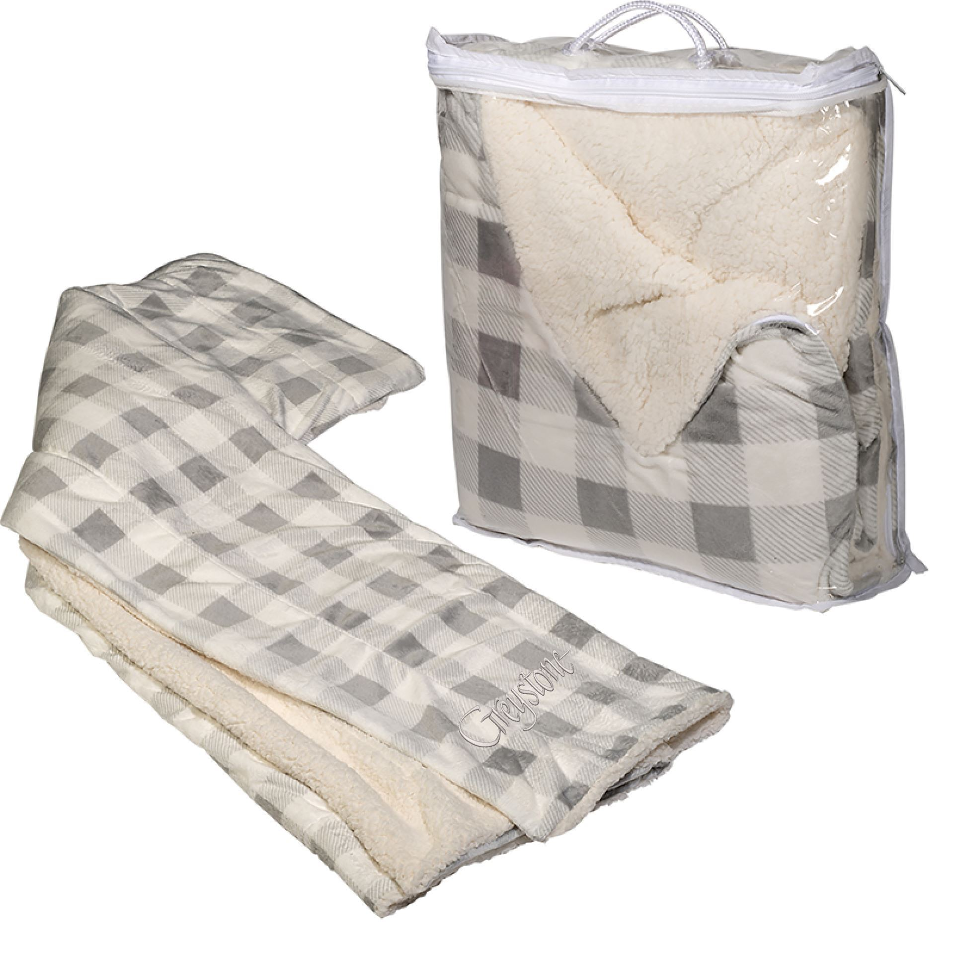 Picture of Grey Plaid Micro Boa-Sherpa Blanket