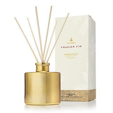 Picture of Thymes Frasier Fir Gilded Gold Petite Reed Diffuser