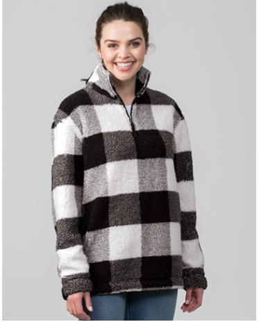 Picture of Adult Sherpa 1/4 Zip Pullover - Black Buffalo Plaid