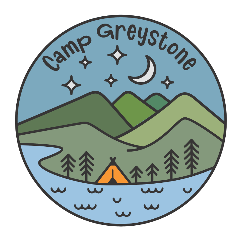 Picture of Camp Greystone - Tent by River Round Sticker