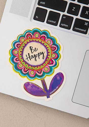 Picture of Be Happy Flower Decal Sticker
