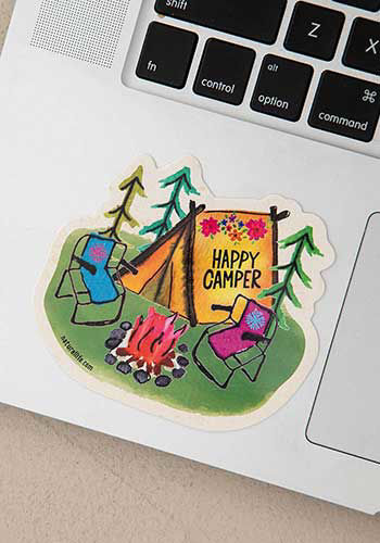 Picture of Happy Camper Tent Decal Sticker