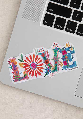 Picture of Love Floral Decal Sticker