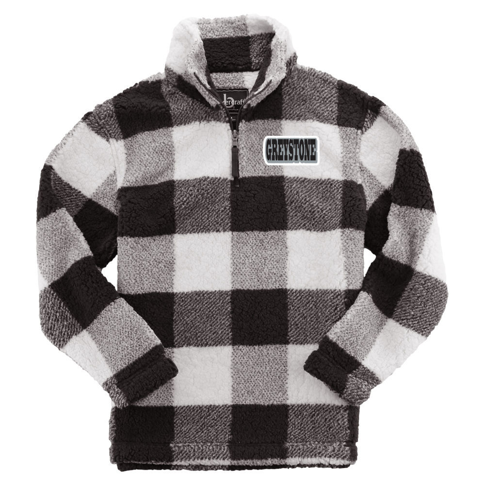 Picture of Youth Sherpa 1/4 Zip Pullover - Black Buffalo Plaid