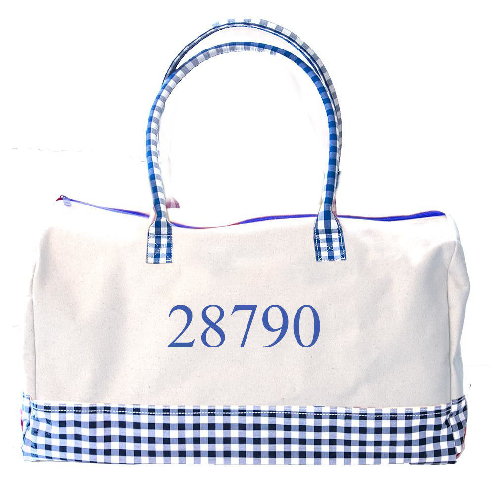 """Picture of Get Away Duffel, 20"""" long x 12"""" wide x 10"""" tall, Blue Gingham"""