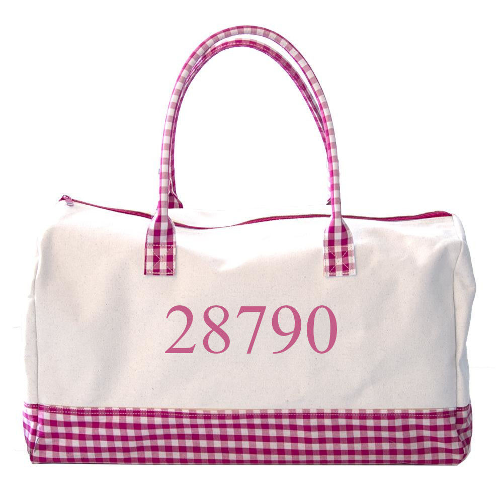"""Picture of Get Away Duffel, 20"""" long x 12"""" wide x 10"""" tall, Pink Gingham"""