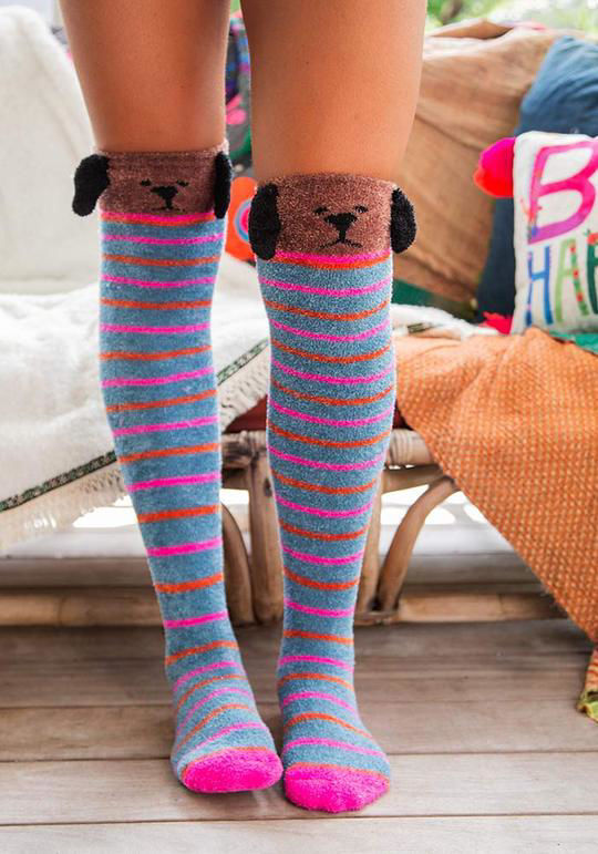 Picture of Over-the-Knee Cozy Socks - Dog