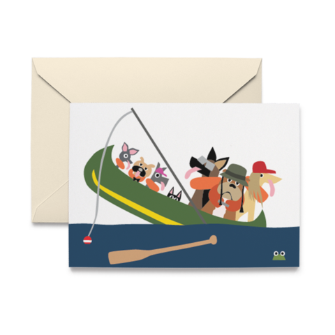 Picture of Dogs in Canoe Note Cards